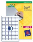 Avery Mini Labels Removable Laser 80 per Sheet 35.6x16.9mm White Ref L4732REV-25 [2000 Labels]
